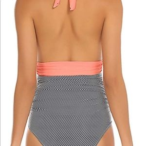 Swim - Peach Halter With Stripes One Piece Swimsuit NWT